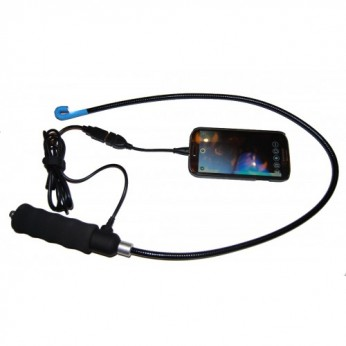 Flexibele endoscoop met buigbare kop. Telefoon Ipad